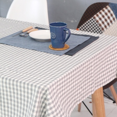 워싱 멜란그레이 체크 면식탁보