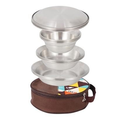 캠핑용 16pcs 접시세트 그릇 스텐식기 코펠