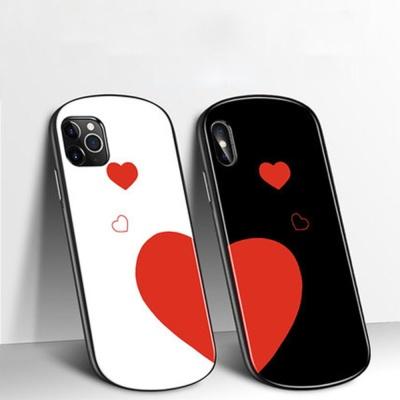 아이폰7 8+ 11promax xs맥스 xr 하트 강화유리 케이스