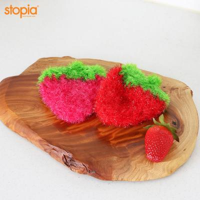 두툼한 딸기 아크릴 수세미(핑크)
