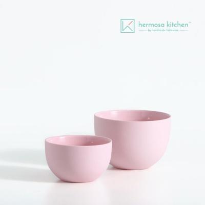 [에르모사키친] 컬러클레이 볼 핑크 2종 무광도자기/밥공기/국공기/다용도볼/샐러드볼