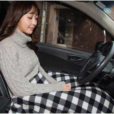 차량용 히팅발열담요12V(블랙체크)바이메탈 온도조절