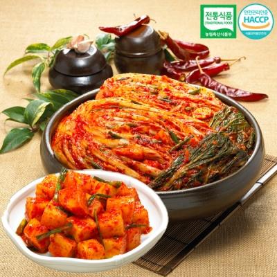 [명가김치] 전통식품인증 포기김치 3kg+깍두기 1kg