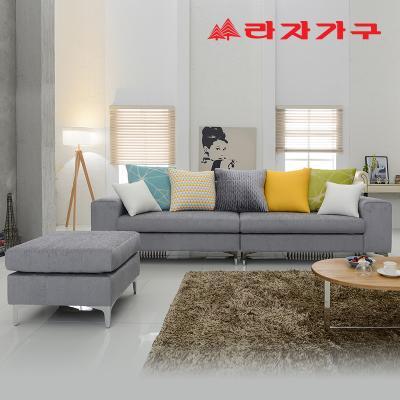 코시티 그레이 패브릭 쇼파 4인용+스툴-쿠션 포함