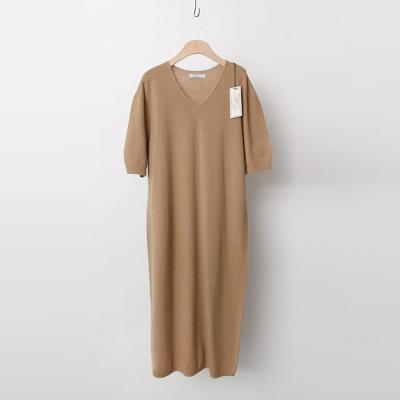 Laine Cashmere Wool V-Neck Long Dress
