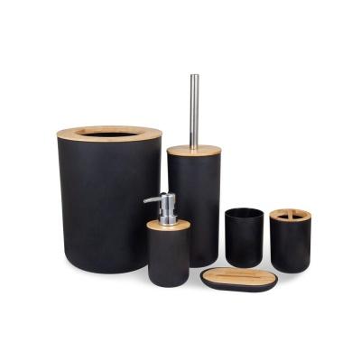 모던 화장실 나무 칫솔 비누 홀더 우드 휴지통 6세트