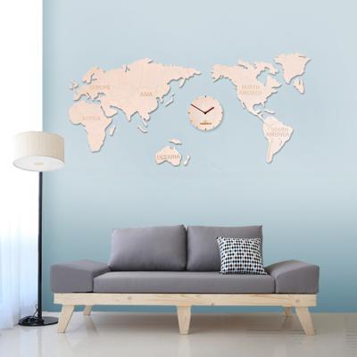 타임데코 인테리어 세계지도 벽시계 (빅 내츄럴)