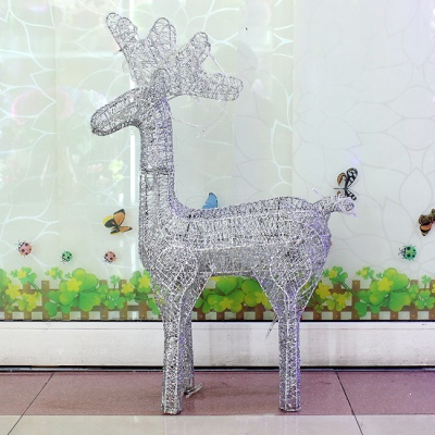 50cm 크리스마스 실버 반짝이 사슴 장식 (소)