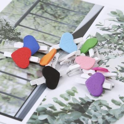 미니 하트 블루 나무 집게 10p 폴라로이드 이벤트