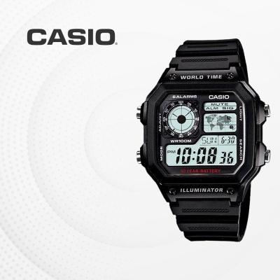 카시오 군인 군용 전자 빈티지 손목시계 AE-1200WH-1A