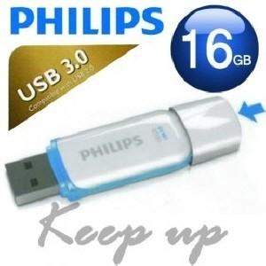 [PHILIPS] 필립스 USB메모리 / SNOW 16GB / 색상: 블루+화이트 / USB 3.0 / LED 점멸 / 초소형사이즈 /