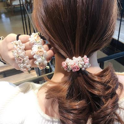 리던 꽃 비즈 장식 머리끈 헤어밴드