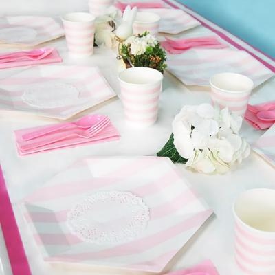 파티테이블 패키지 줄무늬 핑크 [온라인한정]