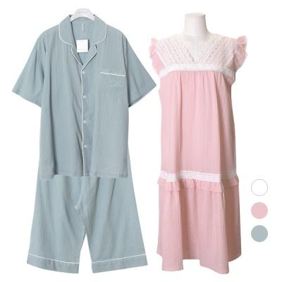 [쿠비카]숄더 프릴 민소매 원피스 커플잠옷 WM259