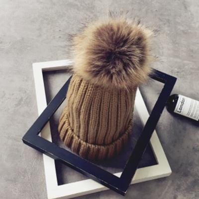 겨울 방울 털모자 / 브라운 니트모자