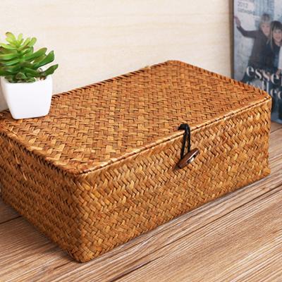 라탄 덮개형 사각 소품 수납 박스 바구니 (소형)