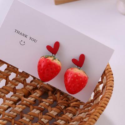 딸기딸기 귀여운 레드 레이어드 과일 귀걸이