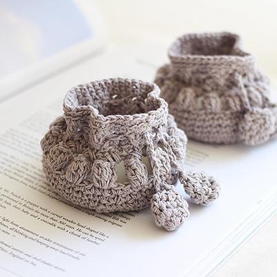 [콩지] 그레이 뜨개 의자발커버 4P