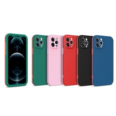아이폰se2 8 7+ 전면 풀커버 배색 컬러 핸드폰 케이스