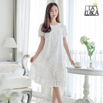 [쿠비카]여성잠옷 매력적인 플라워자수 원피스 BNBR-W766