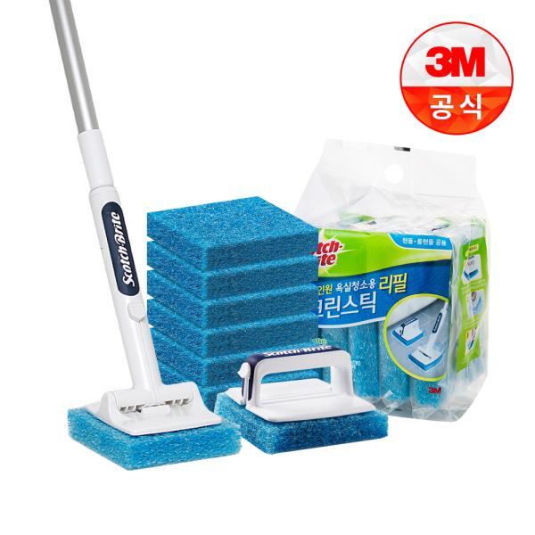 [3M]크린스틱 뉴올인원 욕실청소용 핸들+롱핸들+리필8입