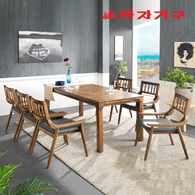 번버리 고무나무 원목 6인 식탁+의자 세트