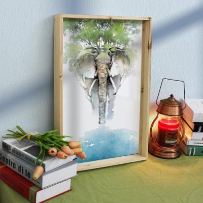 pc508-우드프레임액자_복을부르는코끼리