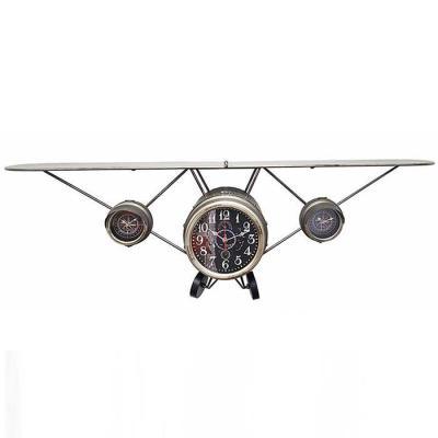 Vintage 조립식 비행기 선반 벽시계 그레이 125x40cm