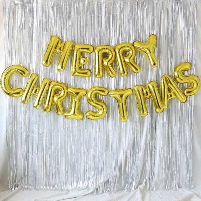 은박풍선 커튼세트 (MERRY CHRISTMAS) 골드