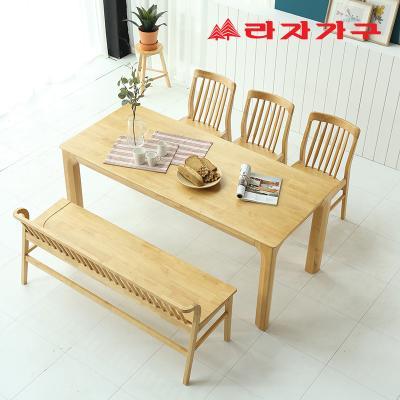 미농 고무나무 원목 식탁 세트 6인용 벤치형 B