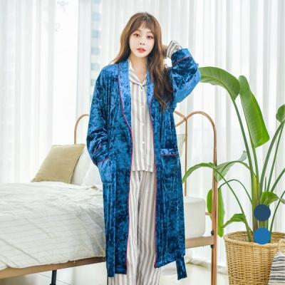 [쿠비카]벨벳 가운 로브 벨티드 여성잠옷 W517