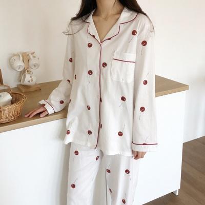 다이마루 면 잠옷 블랙체리 파자마
