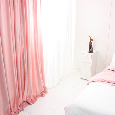 극세사 벨벳 셔링커튼-핑크