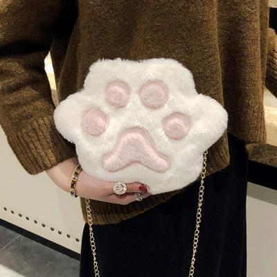 손바닥 캐릭터 페이크퍼 포근 골드체인 크로스백 겨울가방