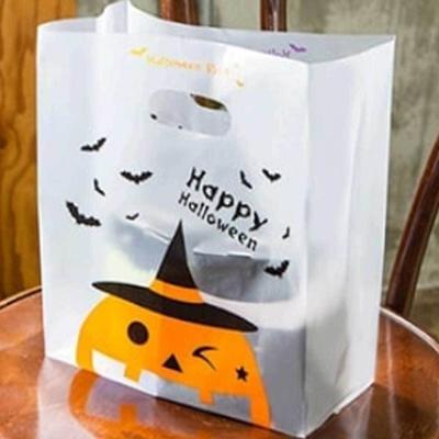 할로윈 데이 소품 호박 비닐백 손잡이 비닐 봉투