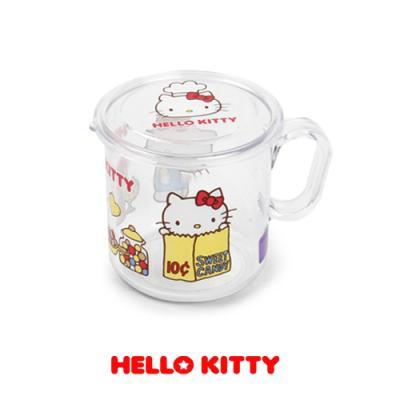 헬로키티 요리사 뚜껑 머그컵 (투명)