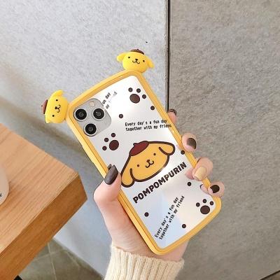 아이폰 커플 강아지 캐릭터 얼굴 실리콘 미러 케이스
