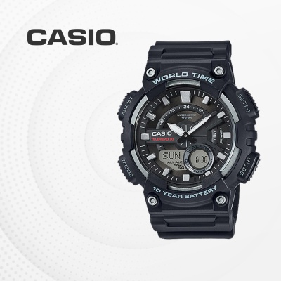 카시오 군인 군용 전자 남성 손목시계 AEQ-110W-1A