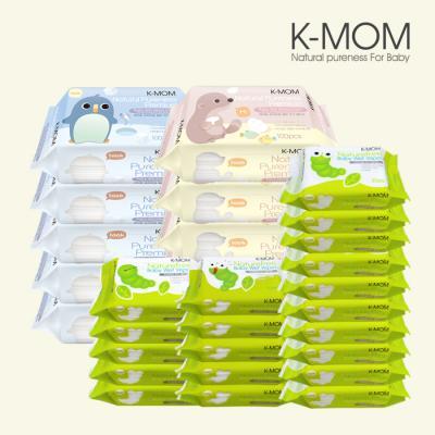 [케이맘] 프리미엄 100매물티슈(수달,펭귄)리필 10팩 + 휴대용 30매 20팩 / 안전한물티슈