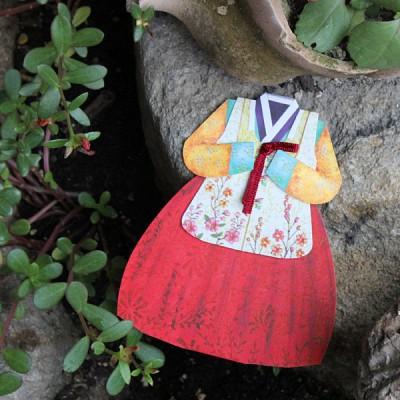 여아 붉은치마 한복카드/035-SH-0007