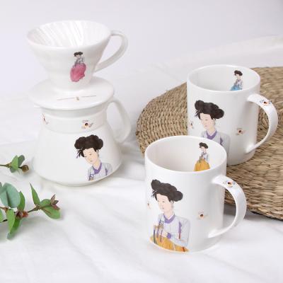 신윤복 미인도 전통기법 도자기 커피포트 세트