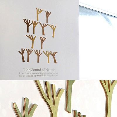 [우드스티커] 우든포레스트 (컬러완제품) - 입체우드 월데코  포인트 집꾸미기 벽장식