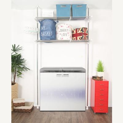기둥접이식 폭조절 세탁기/김치냉장고 선반 2단