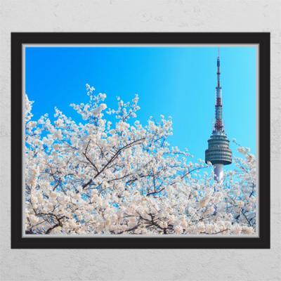 cr561-벚꽃과남산타워_창문그림액자