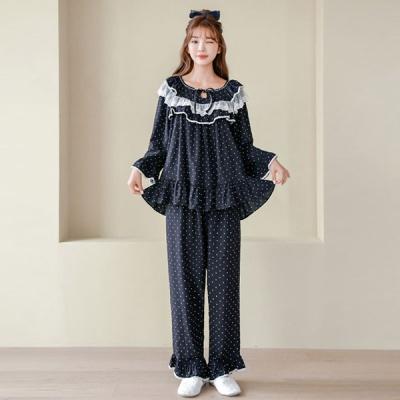 [쿠비카]숄더 이중 프릴 라운드 투피스 여성잠옷 W661