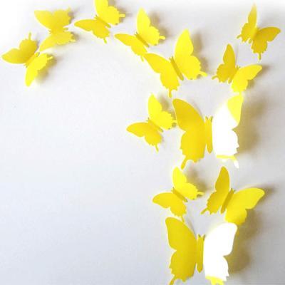 PVC 3D 나비 포인트 스티커 light yellow 12P