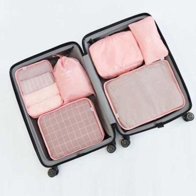 여행용 고급 링클프리 방수 6종 파우치 세트 핑크