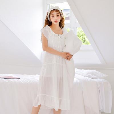 [쿠비카]플라워 자수 펀칭 원피스 여성잠옷 W482