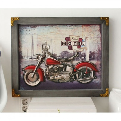 [2HOT] 빈티지 볼록 액자 오토바이