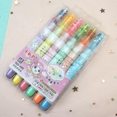 별모양 형광펜 6색세트 사무용품 문구 다꾸 용품